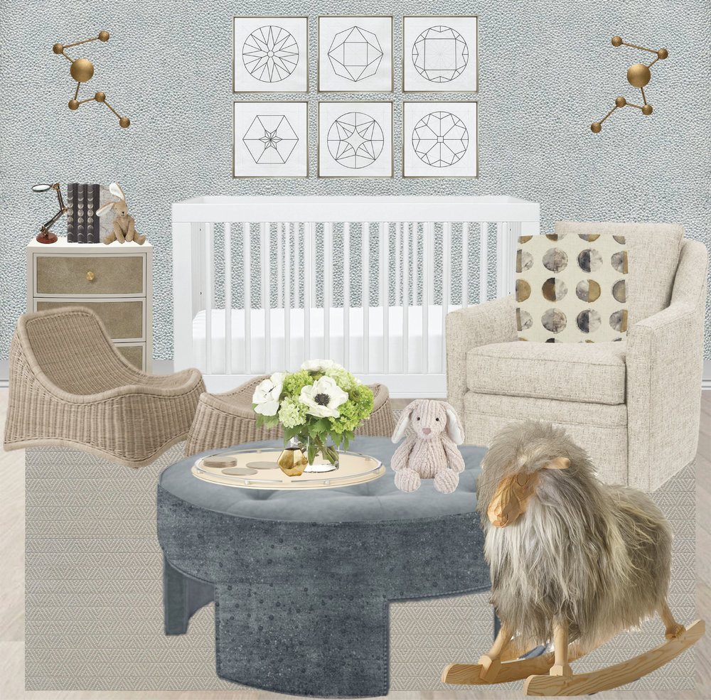 "Celestial Inspired Baby Boy Nursery    The Synonymous approach for themed spaces is to introduce the ""elements"" in a subtle way as to give the hint that indeed this room is ""celestial themed"" but it's not obvious. Lots of textures and a struct color palette are used to reference the whimsical idea."