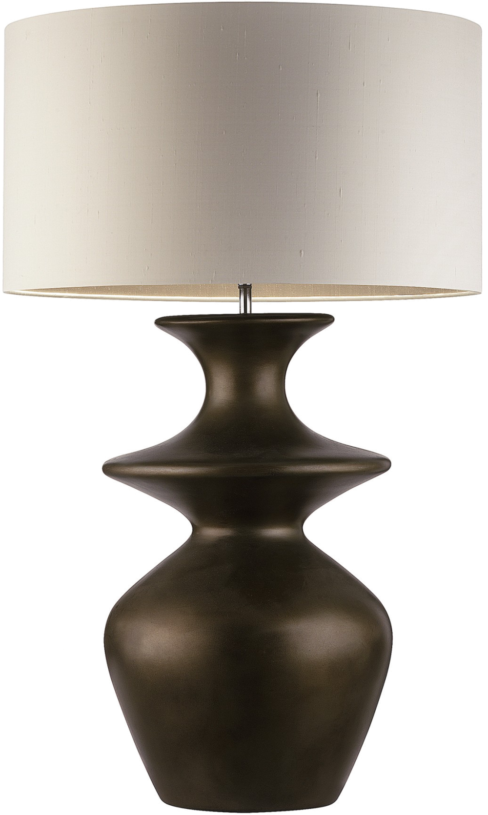 We know brass has been a favorite finish for the past few years, but we are loving bronze more than ever. This table lamp with its substantial size will add a balanced drama, a chic, sleek sexy and warm appeal to any interior.