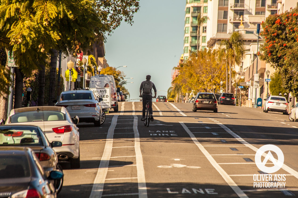 The infamous bike lane in the San Diego Banker's Hill neighborhood, that took away a traffic lane from cars.