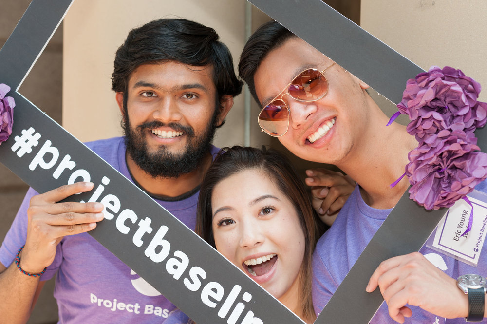 Volunteers mug for the camera at the Stanford University Project Baseline Anniversary Event.