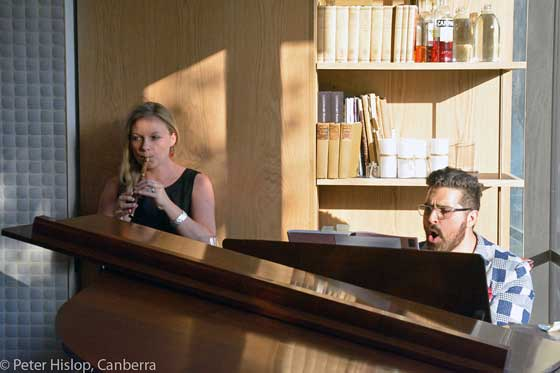 Musician Emma Griffiths joins Paul at the piano for some merry music making. (Image: Peter Hislop)