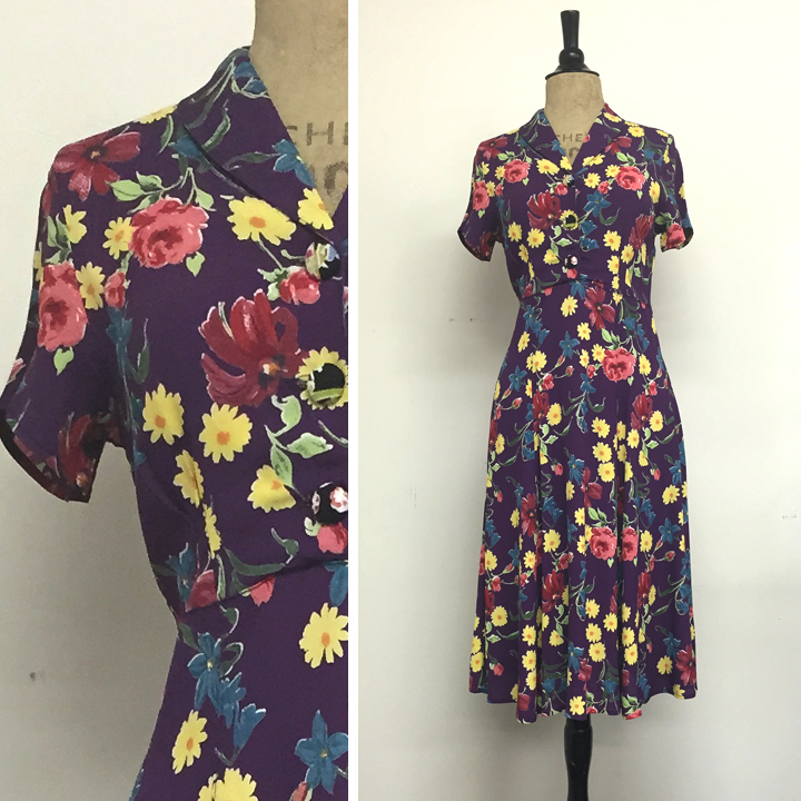 Vintage Dress Short Sleeve in Purple 40's Floral