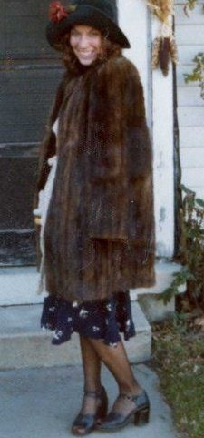 Linda in Colorado layering with true vintage. Today the jacket would be faux fur!