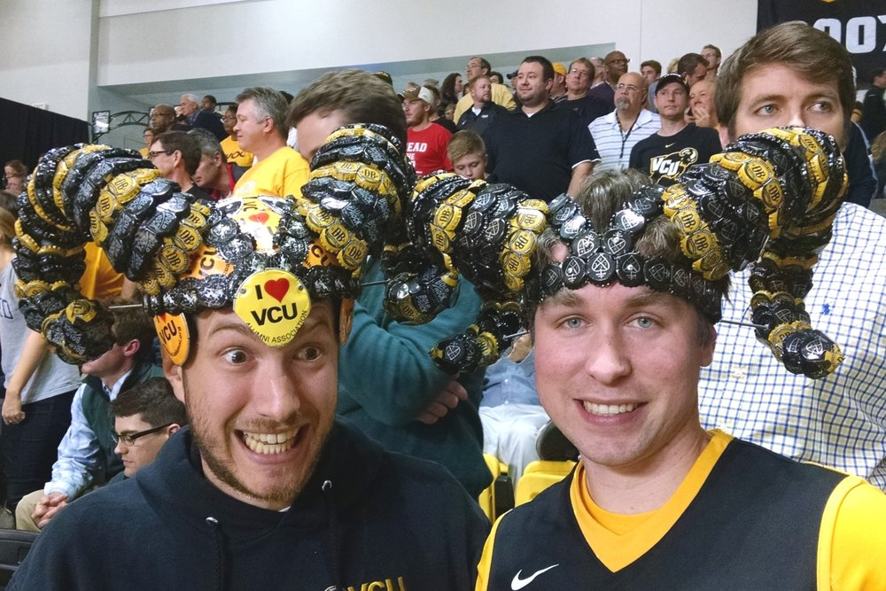 My friend, Steven, and me at a VCU Rams basketball game.