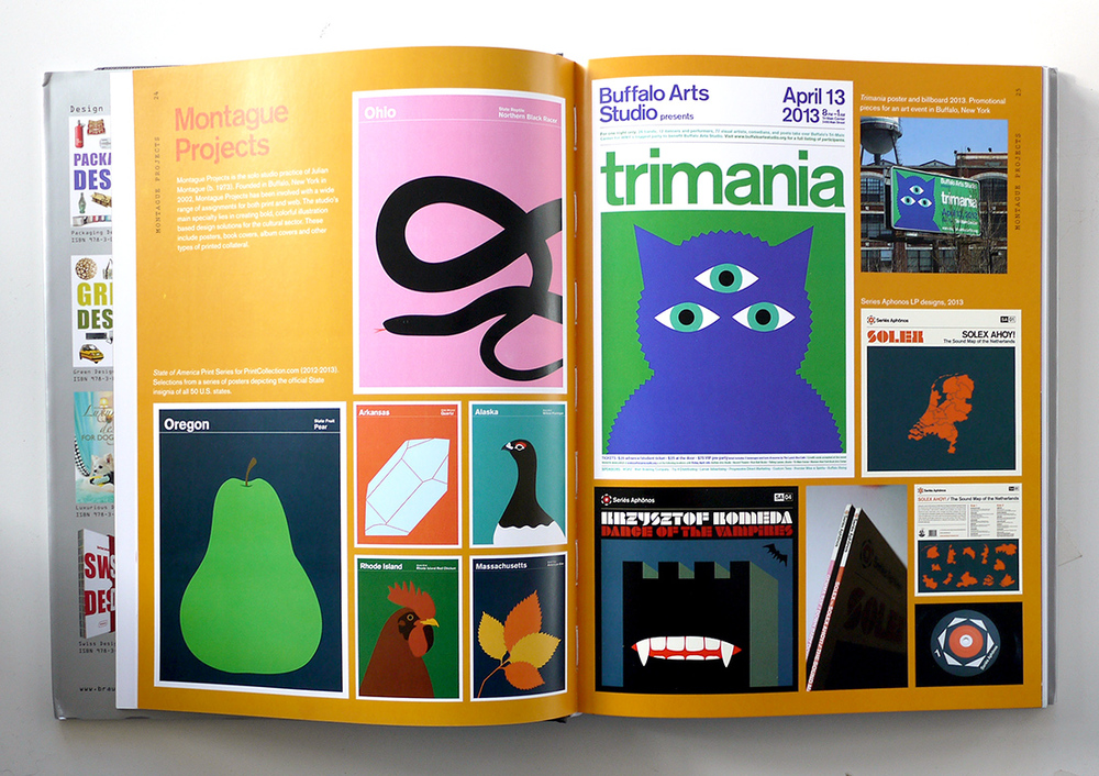 A spread from Graphic Design 100x, Braun Publishing, 2014