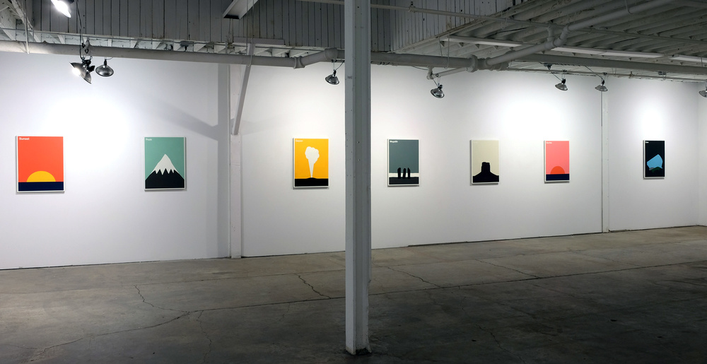 "Features, installation view, BT&C Gallery, Buffalo, NY.  Individual pieces:  32"" x 24"" x 1.5"". 2015. Aerosol Paint on Medium Density Fibreboard."
