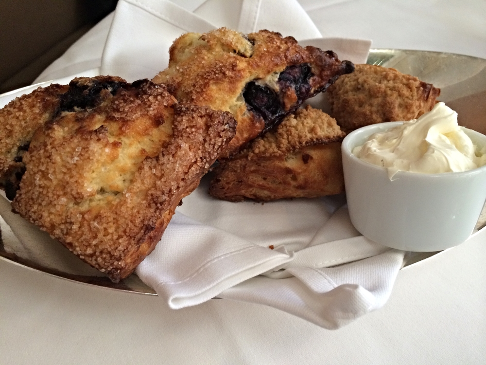 Buttermilk blueberry scones with clotted cream