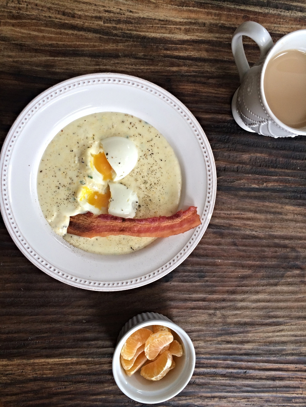 Polenta, eggs & bacon with some Earl Grey and clementines