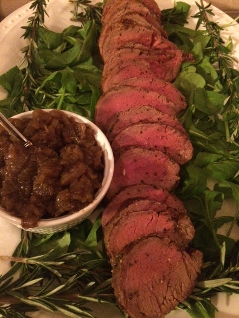 Herbed beef tenderloin with onion jam