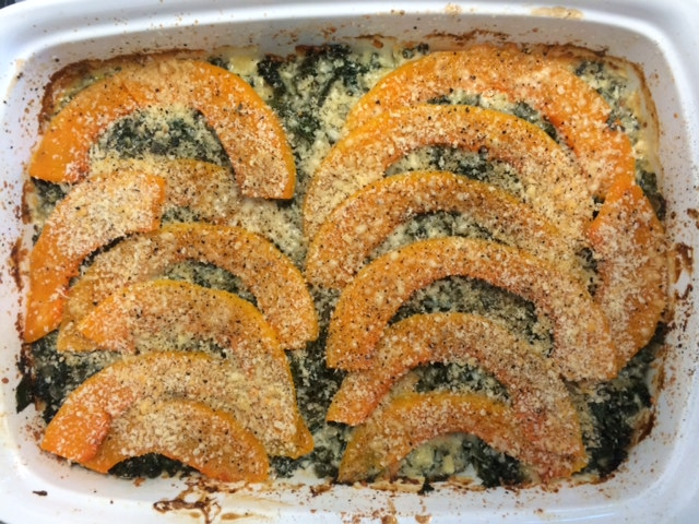 A quick and healthy Thanksgiving side: roasted squash with steamed kale and a sprinkling of pecorino