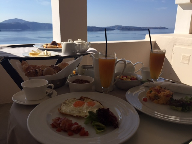 Daily in-room breakfast at our wonderful hotel in Santorini