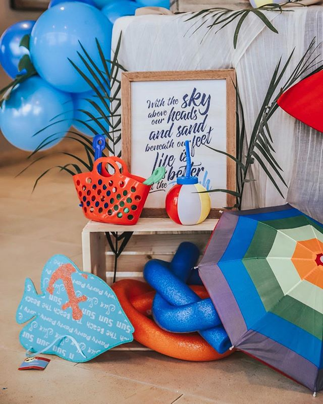 """With the sky above our head and sand beneath our feet, life is better at the beach."" Oh and after a couple of margaritas on any beach, I'll be upside down like that fish. 🐠#gromezadesigns #surfsuptheme #kidsbirthdayparty"