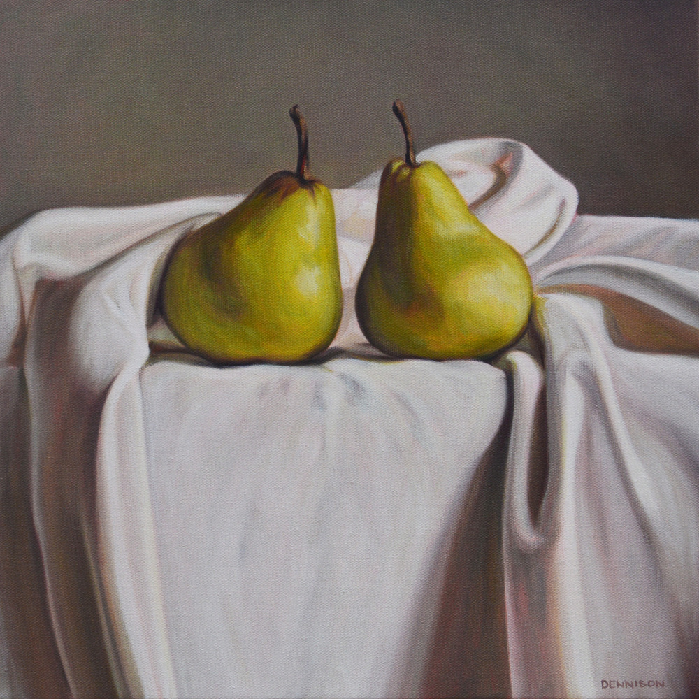 Pear Pair   Oil on Canvas, 35.5 x 35.5 cm