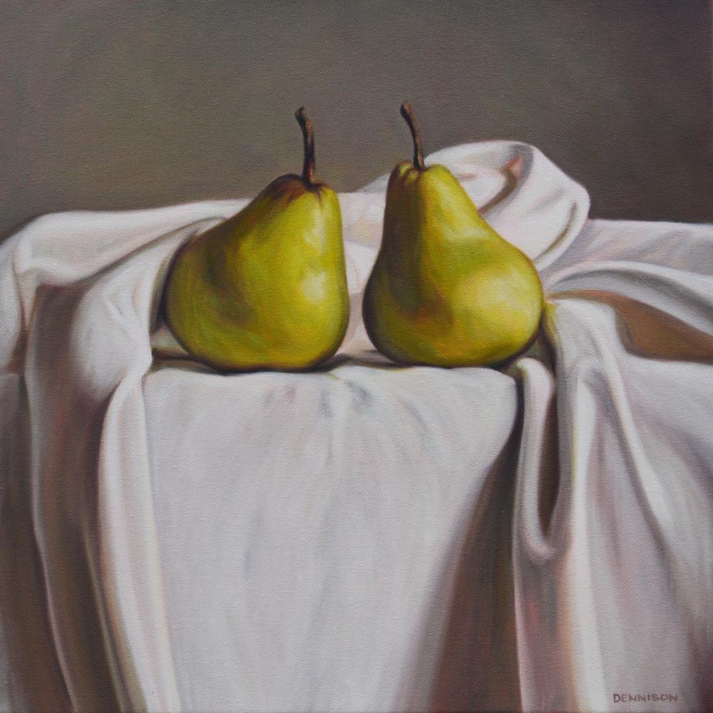Pear Pair Oil on Canvas, 35.5 x 35.5 cm