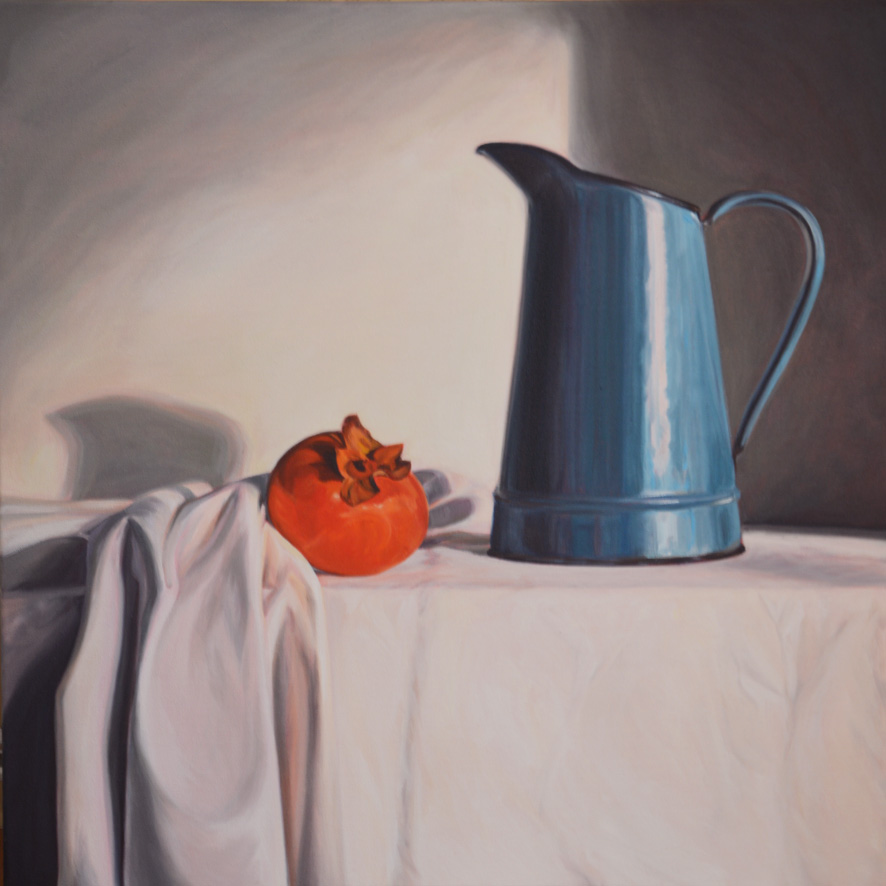 Blue Jug and Persimmon   Oil on Canvas, 61cm x 61cm