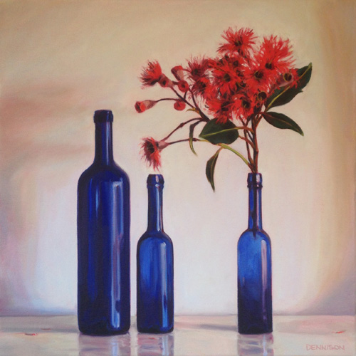Blue Bottles and Flowering Gum   Oil on Canvas, 41cm x 41cm