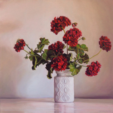 Pelargoniums   Oil on Canvas, 51cm x 51cm