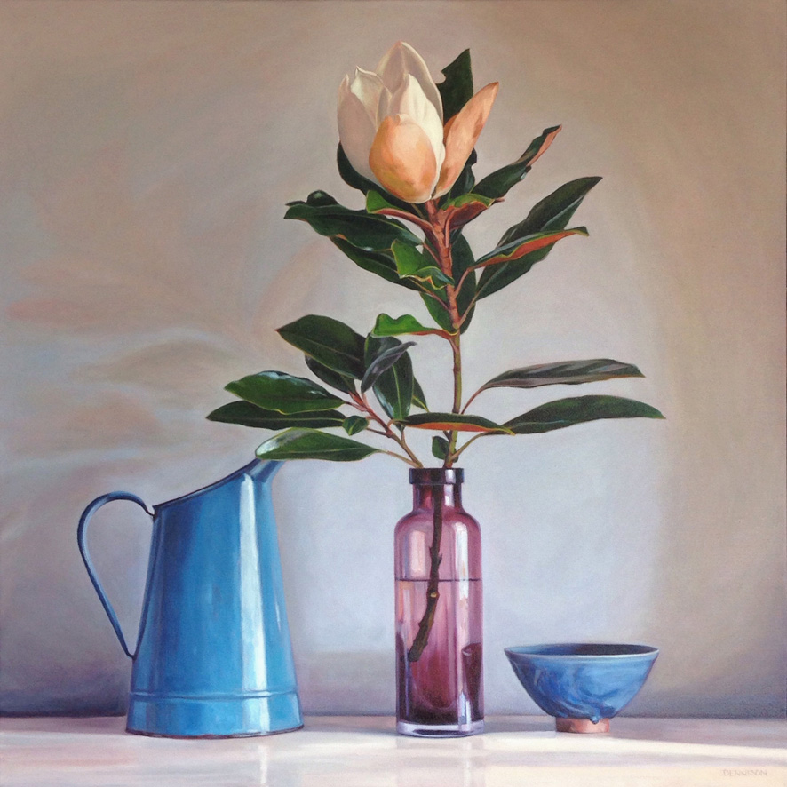 Still Life with Blue Jug and Magnolia   Oil on Canvas, 84cm x 84cm