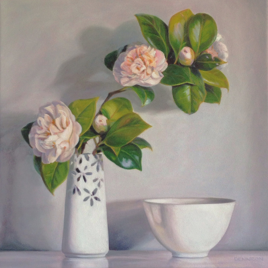 White Camellias   Oil on Canvas, 41cm x 41cm