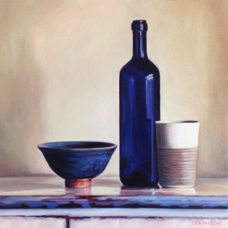 Still Life with Blue Bottle   Oil on Canvas, 30cm x 30cm