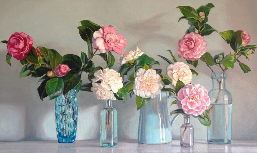 Still Life with Camellias   Oil on Canvas, 61cm x 101cm