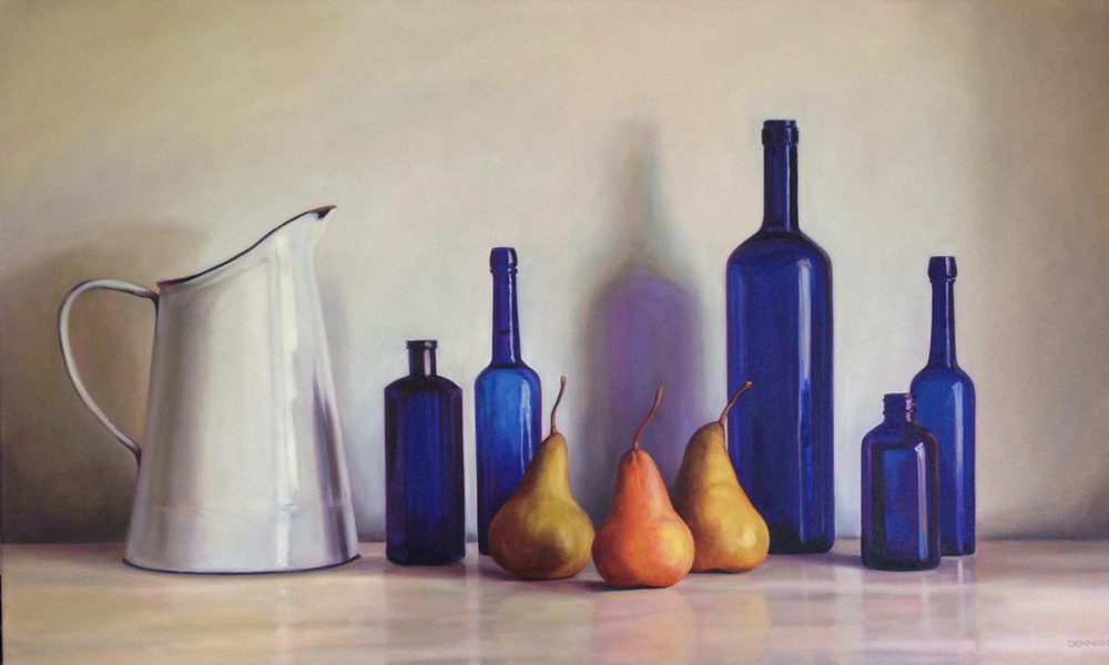 Still Life with Blue Bottles and Pears Oil on Canvas, 61cm x 101cm
