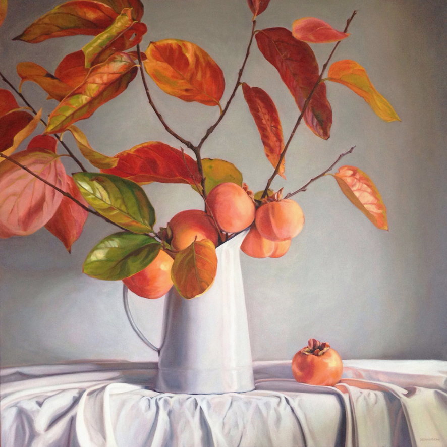 Persimmons   Oil on Canvas, 101cm x 101cm