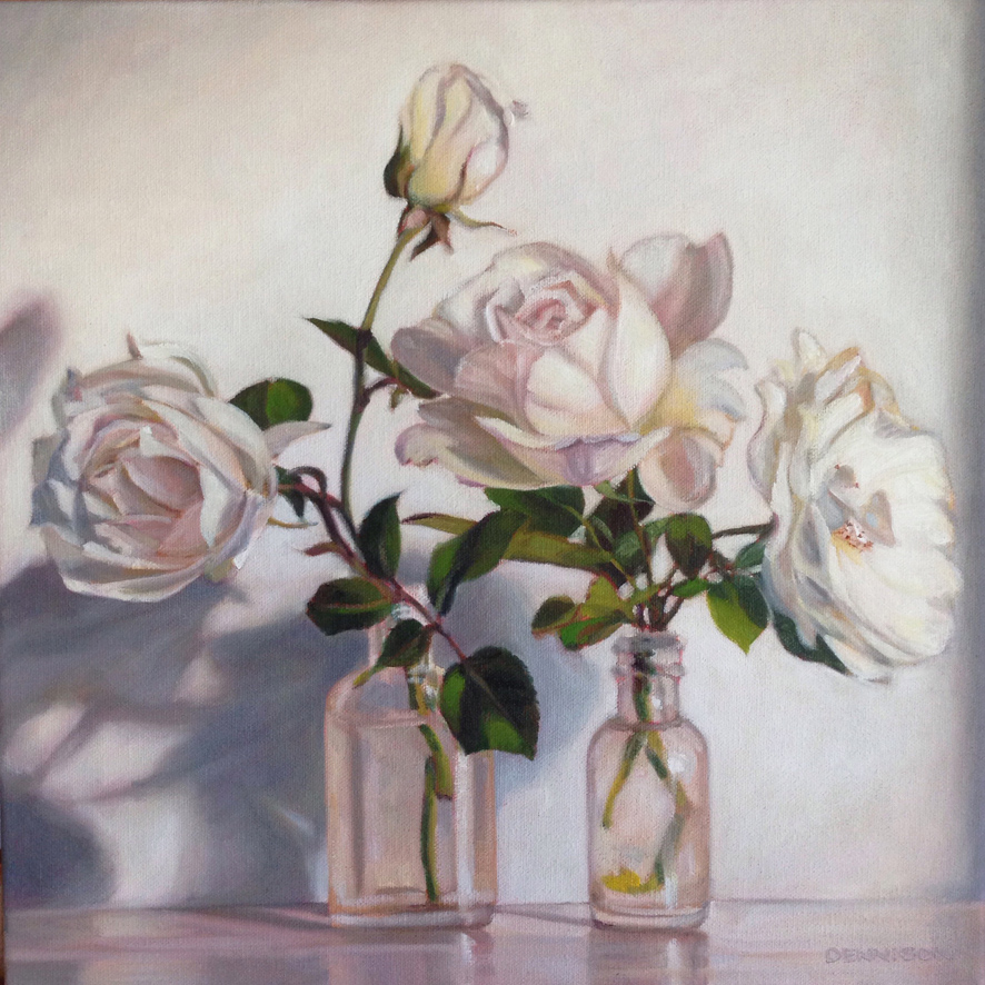White Roses Oil on Canvas, 35cm x 35cm