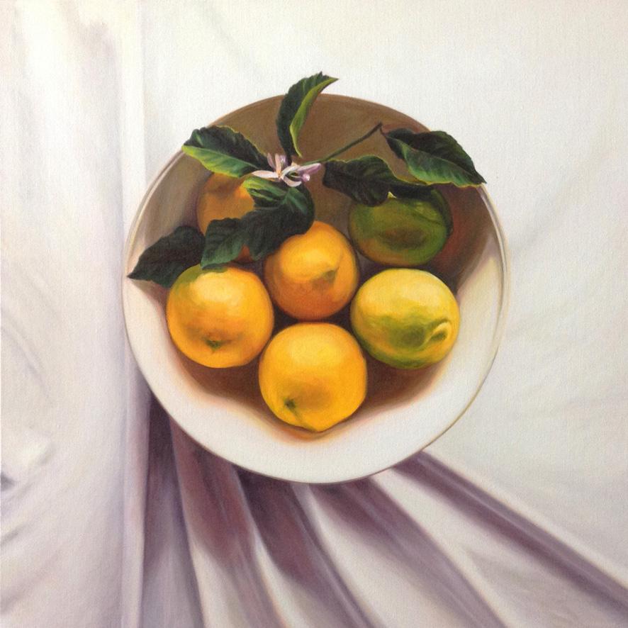 Autumn Lemons Oil on Canvas, 84cm x 84cm