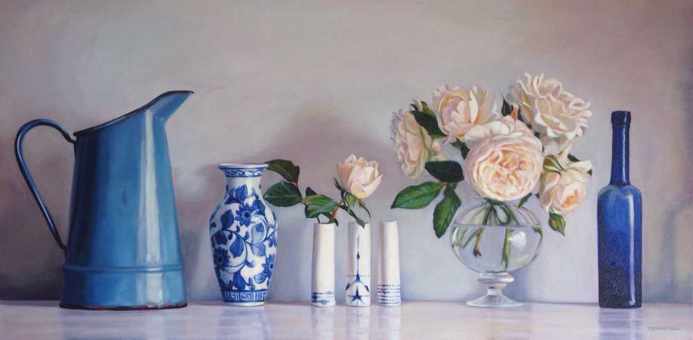 Still Life with Blue and White Oil on Canvas, 61cm x 101cm