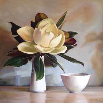 Magnolia with a White Bowl   Oil on Canvas, 51cm x 51cm