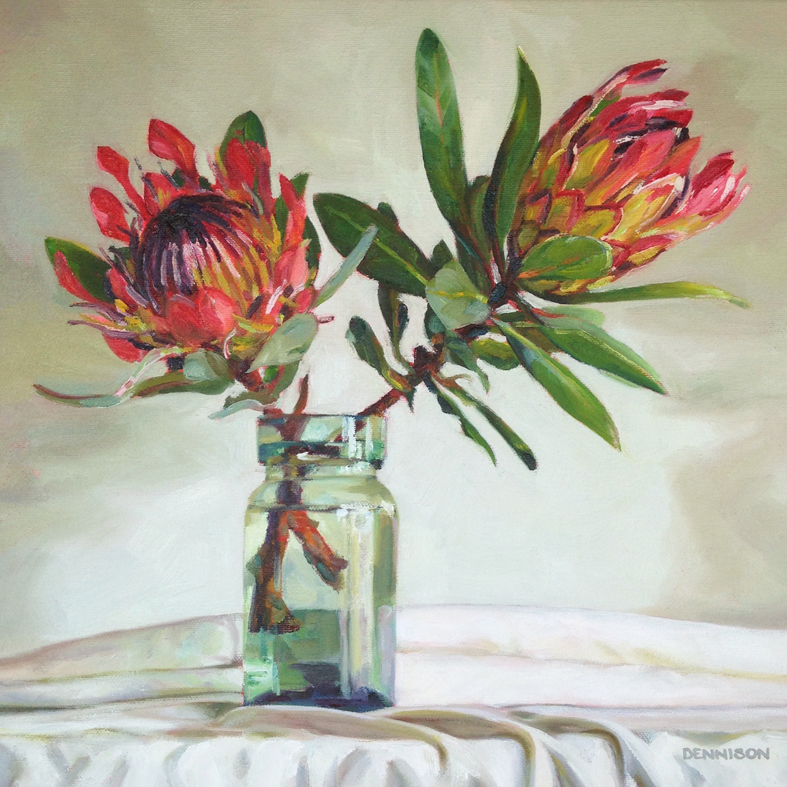 Proteas Oil on Canvas, 35cm x 35cm