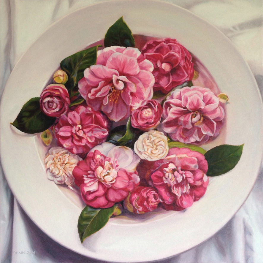 Bowl of Camellias   Oil on Canvas, 61cm x 61cm