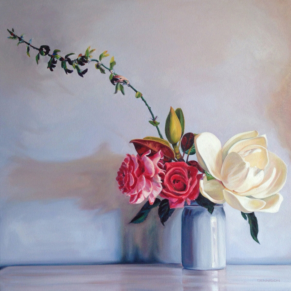 Magnolia with Roses and Salvia   Oil on Canvas, 61cm x 61cm