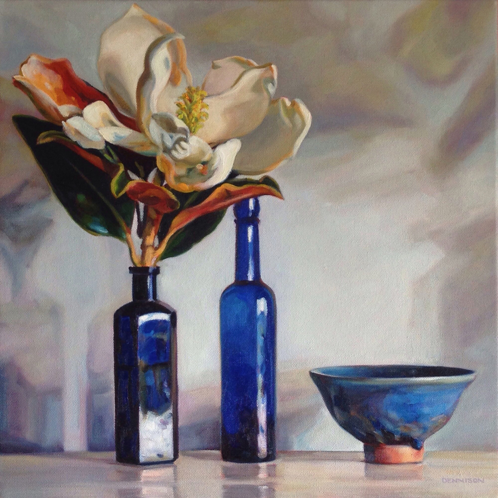 Little Gem Magnolia and Blue Bottles   Oil on Canvas, 41cm x 41cm