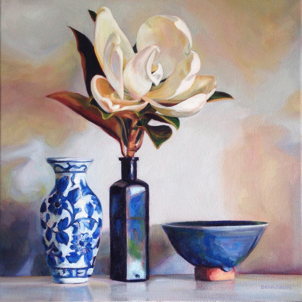 Blue and White Still Life with Little Gem Magnolia   Oil on Canvas, 35cm x 35cm