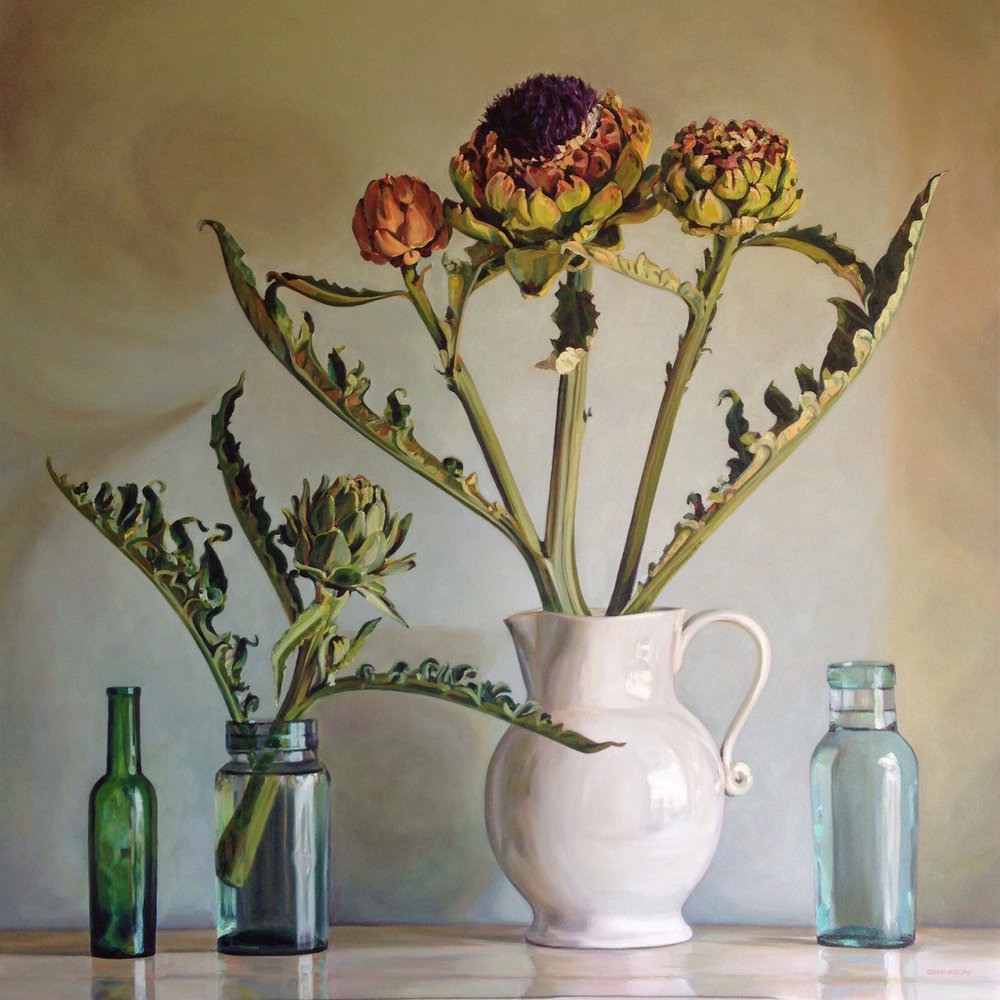 Artichokes   Oil on Canvas, 101cm x 101cm