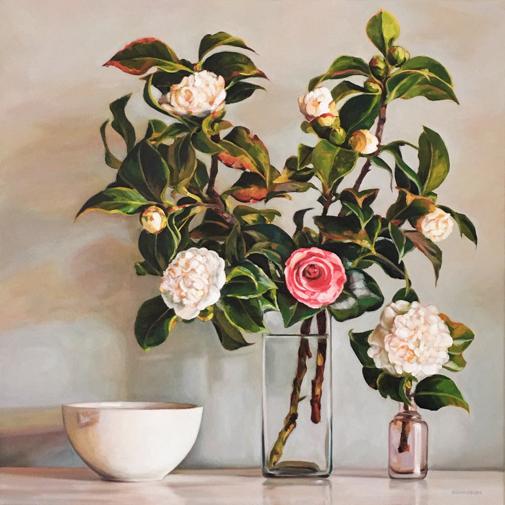 Camellias Oil on Canvas, 61cm x 61cm