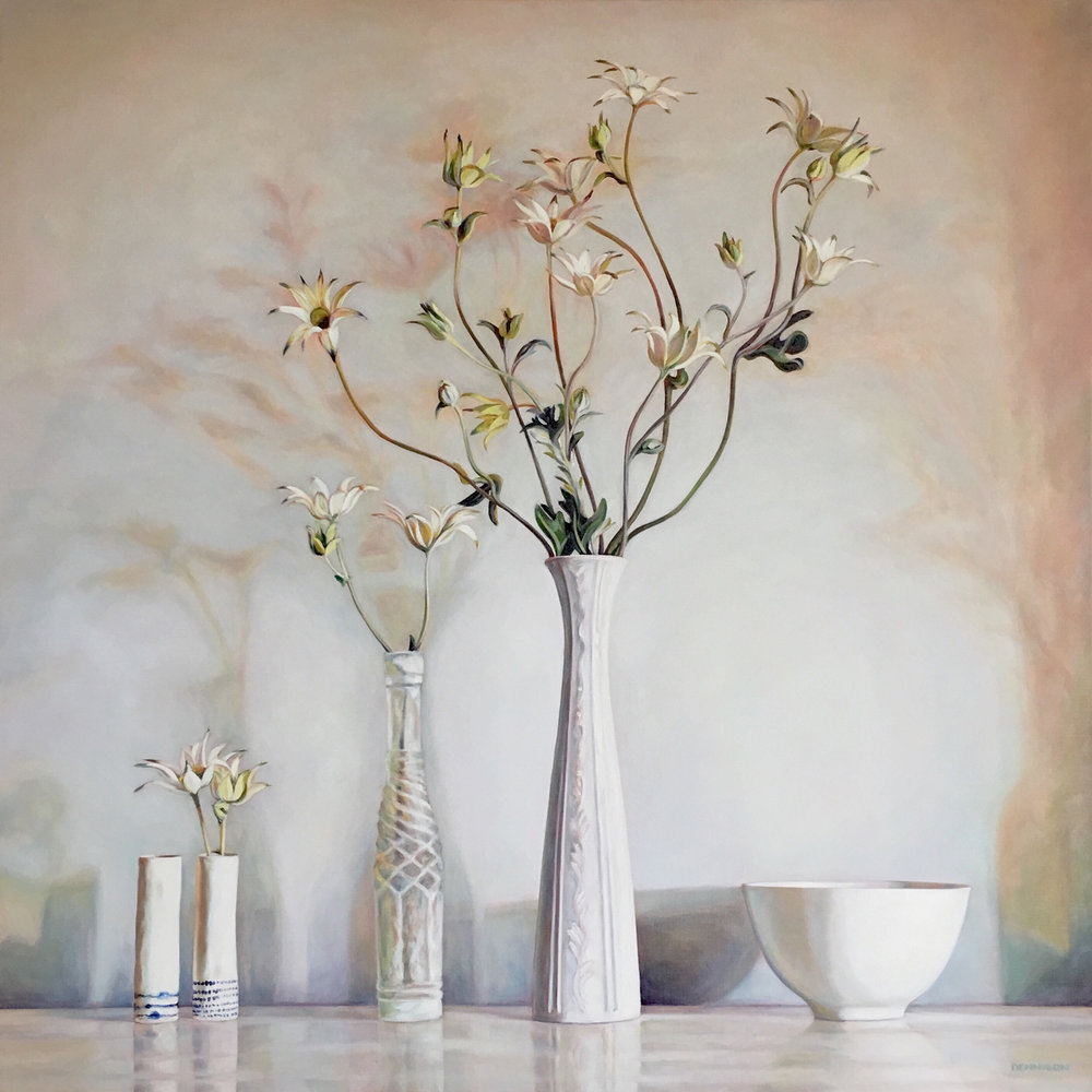 Flannel Flower Still Life   Oil on Linen, 100cm x 100cm