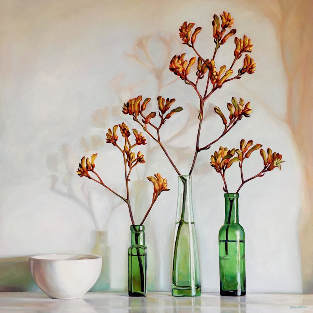 Still Life with Kangaroo Paws   Oil on Canvas, 84cm x 84cm