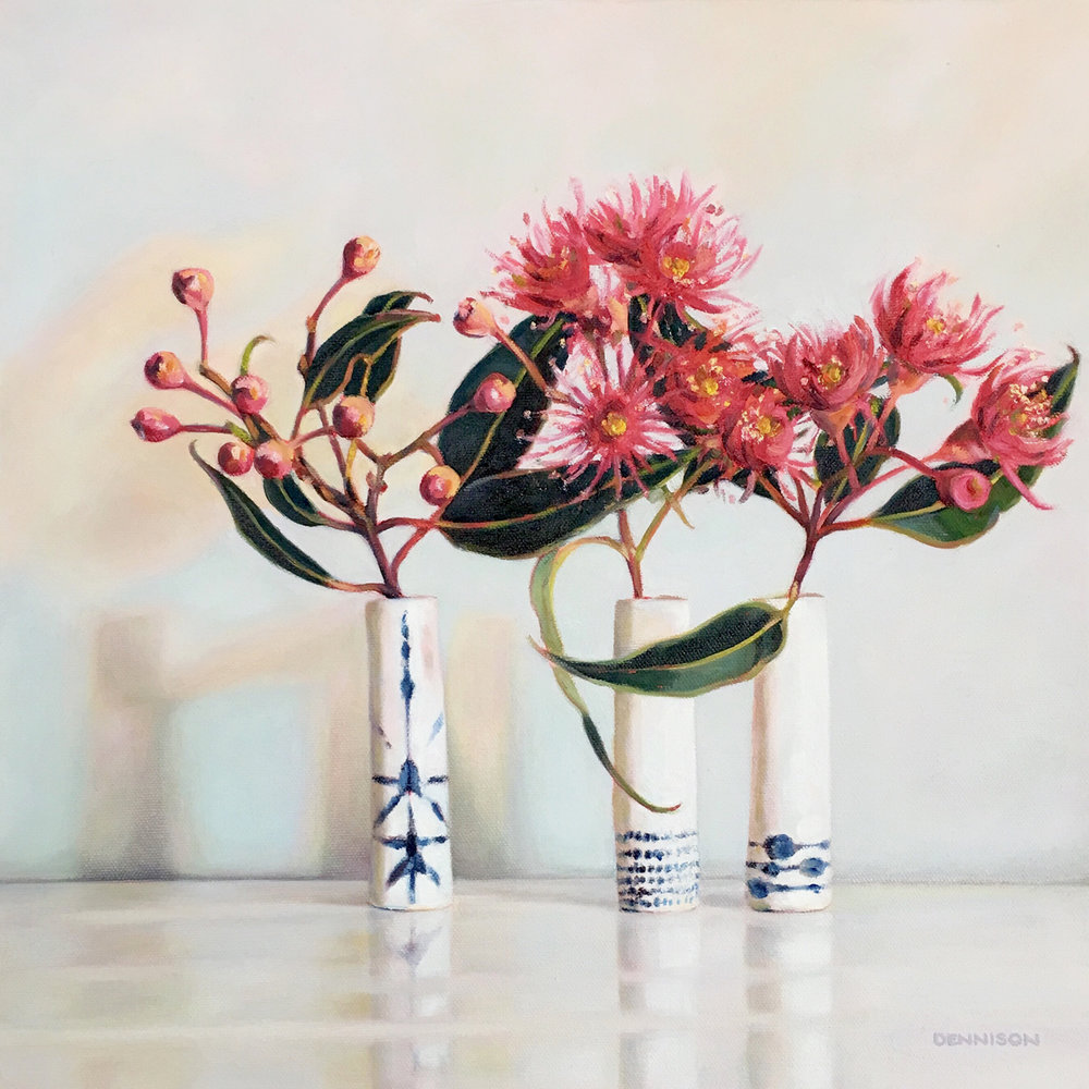 Pink Flowering Gum Blossom Oil on Canvas, 41cm x 41cm, SOLD