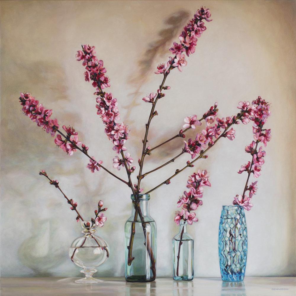 Peach Blossom Oil on Canvas, 101cm x 101cm