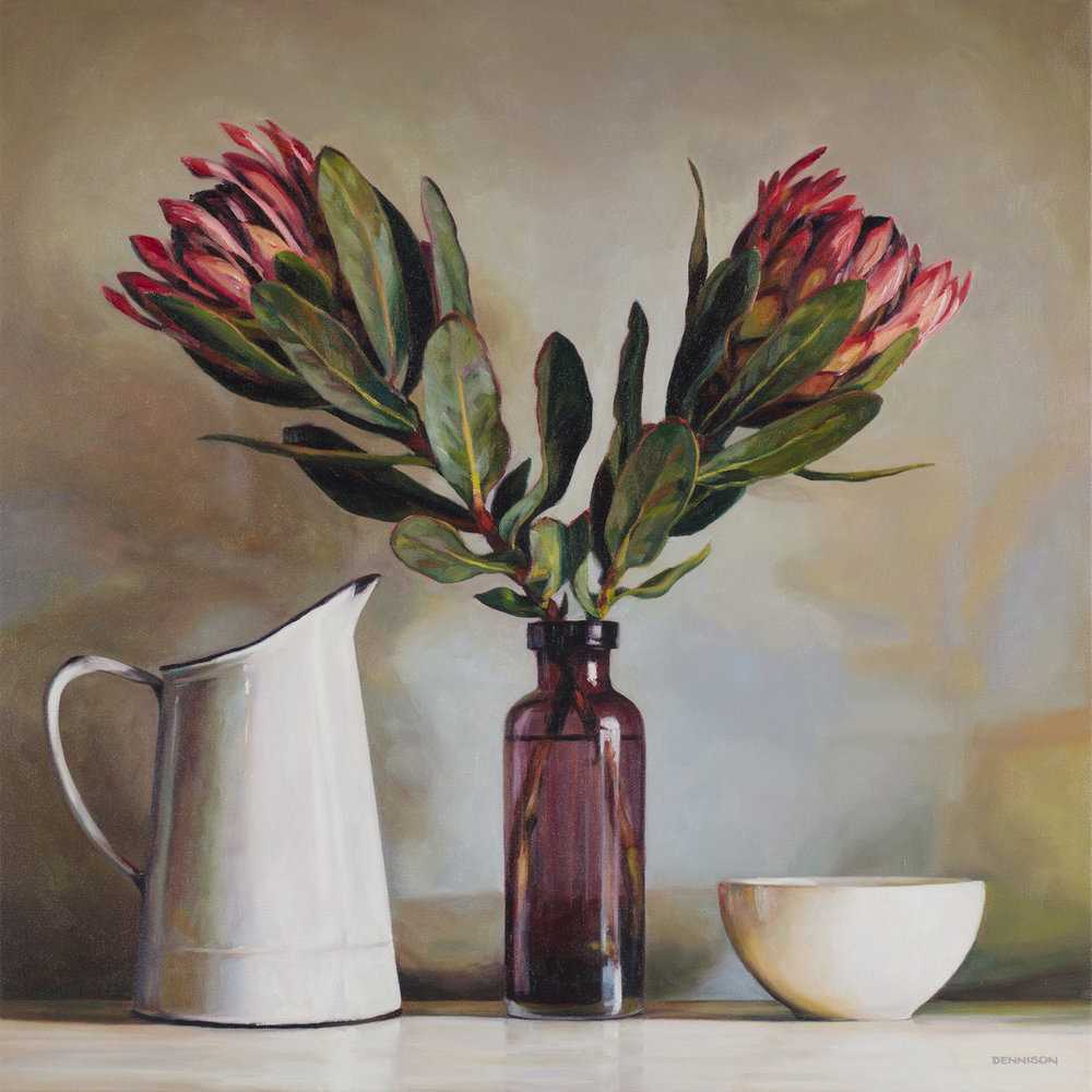 Still Life with Proteas   Oil on Canvas, 61cm x 61cm