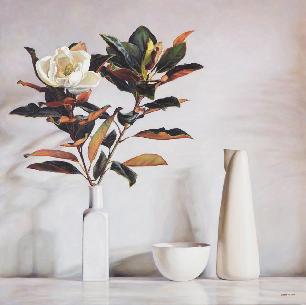 White Still Life with Magnolia   Oil on Canvas, 100cm x 100cm