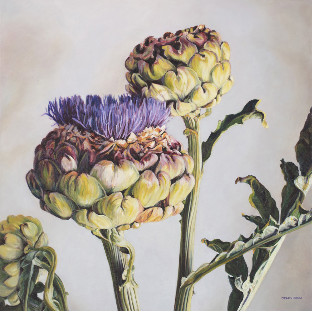 Artichokes from the Garden   Oil on Canvas, 71cm x 71cm