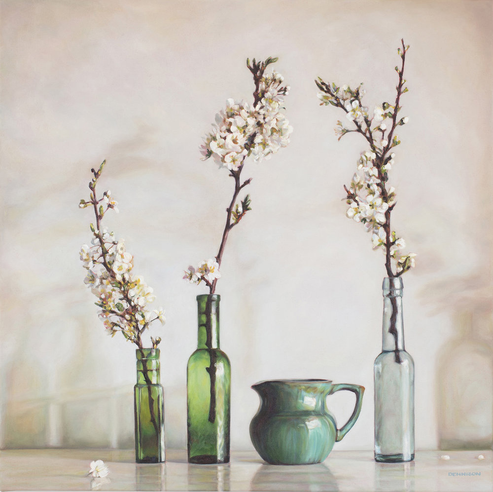 Green Still Life with White Blossom   Oil on Canvas, 71cm x 71cm