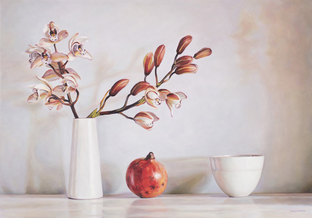 Orchids and Pomegranate   Oil on Canvas, 70cm x 100cm