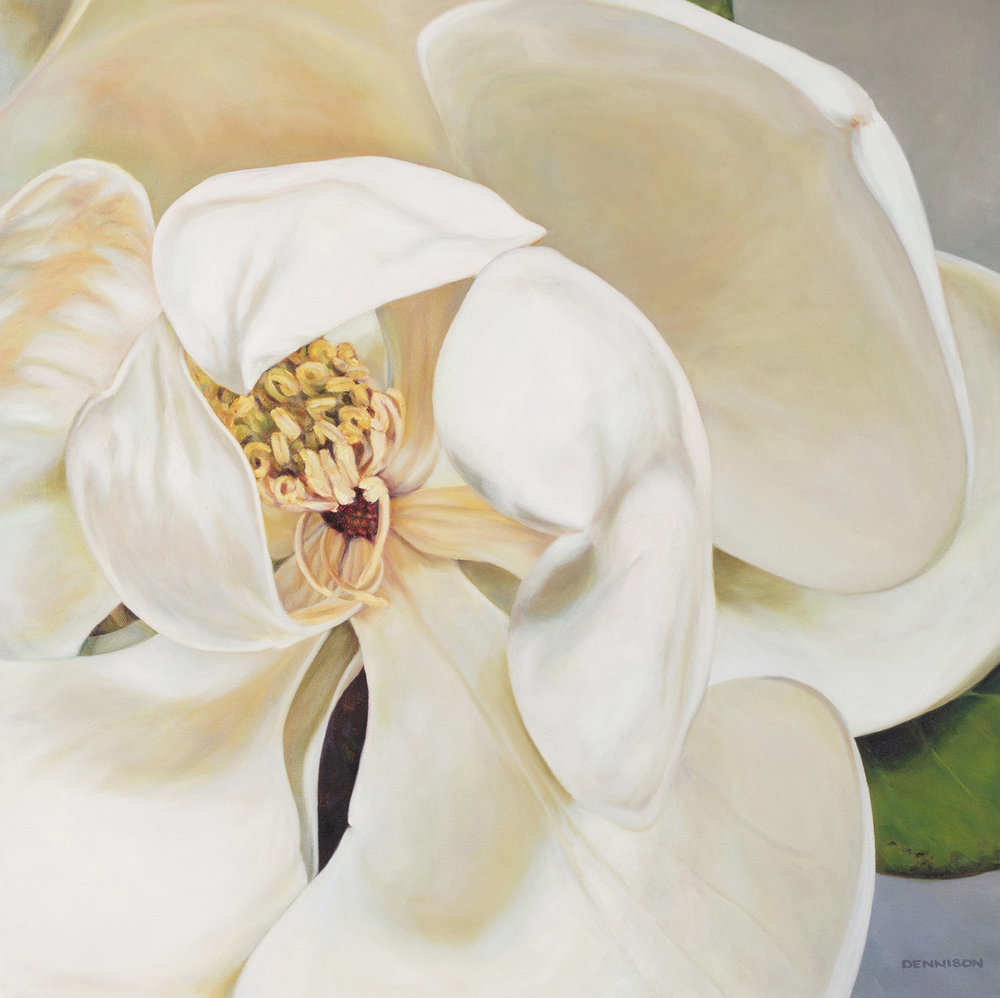 Magnolia   Oil on Canvas, 60cm x 60cm, $1600 Available