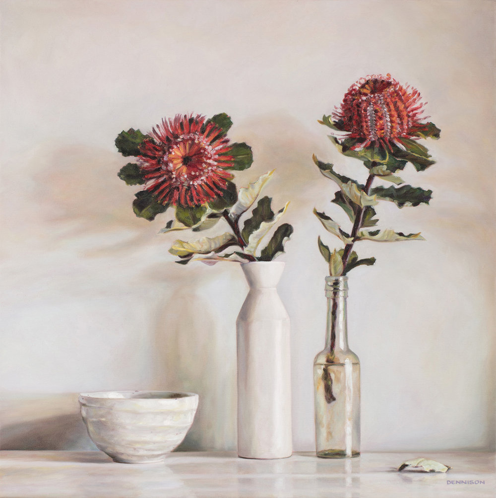Still Life with Banksia Coccinea   Oil on Canvas, 60cm x 60cm