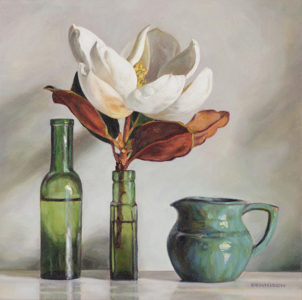 Green Still Life with Magnolia   Oil on Canvas, 36cm x 36cm